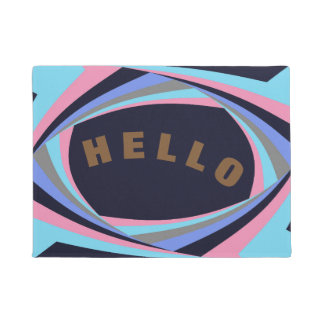 かわいいピンクの黄色く青いスタイリッシュ-カスタマイズ可能な文字 ドアマット
