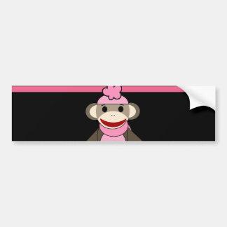 かわいいピンクの黒のストライプのソックス猿の女の子の花の帽子 バンパーステッカー