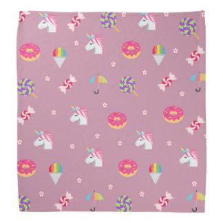 かわいいピンクのemojiのユニコーンキャンデーの花の棒つきキャンデー バンダナ