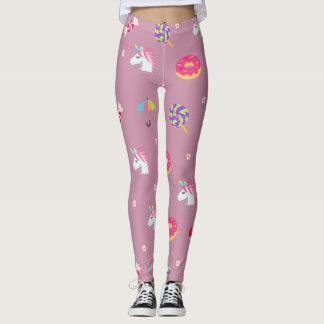 かわいいピンクのemojiのユニコーンキャンデーの花の棒つきキャンデー レギンス