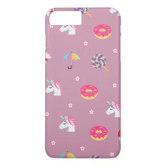 かわいいピンクのemojiのユニコーンキャンデーの花の棒つきキャンデー iPhone 8 plus/7 plusケース