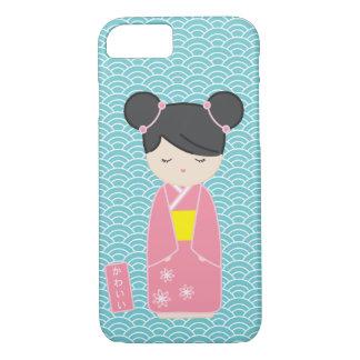 かわいいピンクのKokeshi iPhone 7ケース