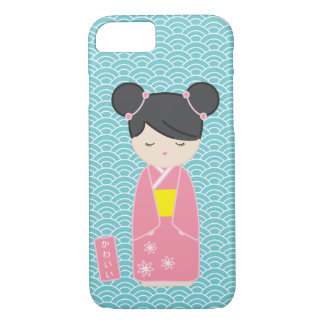 かわいいピンクのKokeshi iPhone 8/7ケース