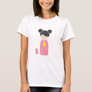 かわいいピンクのKokeshi Tシャツ