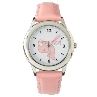 かわいいピンクのNarwhal 腕時計