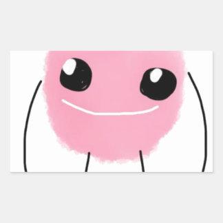 かわいいピンクモンスター 長方形シール