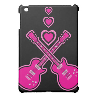 かわいいピンク及び黒いギター及びハート iPad MINIケース
