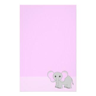 かわいいピンク象の文房具 便箋