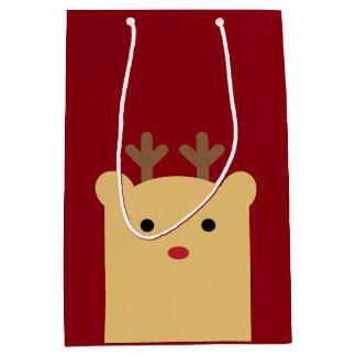 かわいいピーカーブ式トナカイの休日のギフトバッグ ミディアムペーパーバッグ