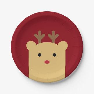 かわいいピーカーブ式トナカイの休日の紙皿 紙皿 小