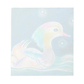 かわいいファンタジーのオシドリの絵画 ノートパッド