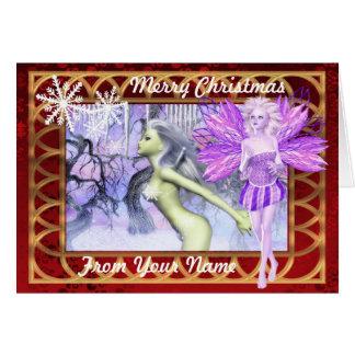 かわいいファンタジーの妖精の名前入りなクリスマス カード