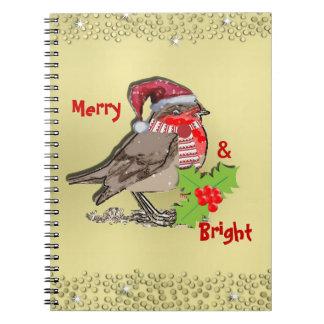 かわいいフェスティバルおよびロビンきらめく赤胸 ノートブック
