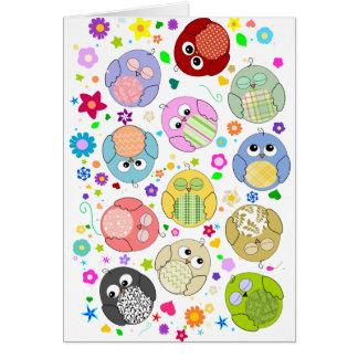 かわいいフクロウおよび花模様 カード