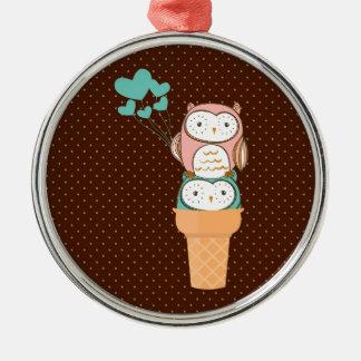 かわいいフクロウのアイスクリームコーン メタルオーナメント