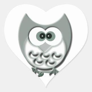 かわいいフクロウのデザイン ハートシール