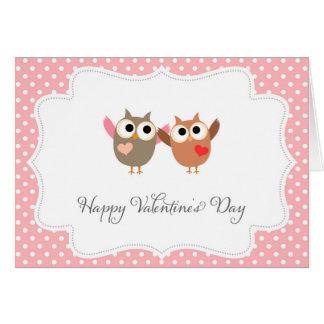 かわいいフクロウのハッピーバレンタインデーカード カード