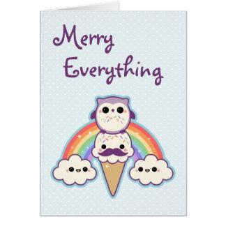 かわいいフクロウの休日 カード