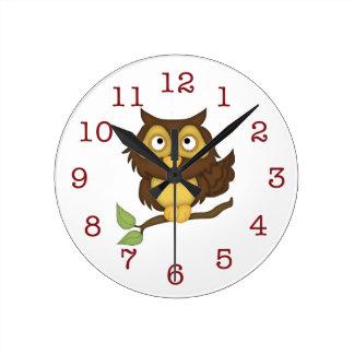かわいいフクロウの子供の壁時計 ラウンド壁時計