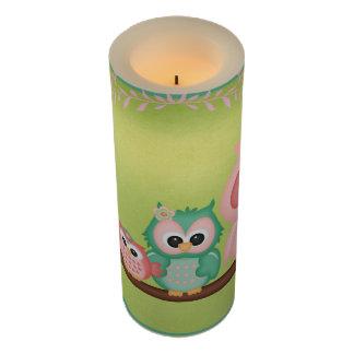 かわいいフクロウの枝鳥のミントの緑のピンク LEDキャンドル