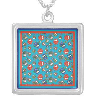 かわいいフクロウの正方形の銀メッキのネックレス シルバープレートネックレス