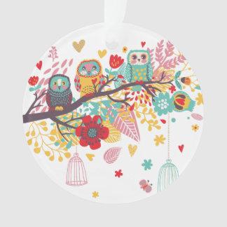 かわいいフクロウの色彩豊かな花のハートの背景 オーナメント