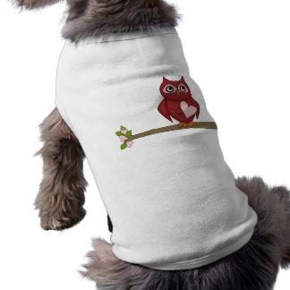 かわいいフクロウの赤い漫画のフクロウのハート ペット服