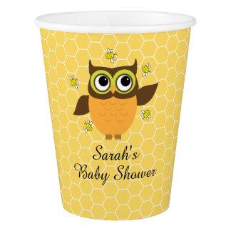 かわいいフクロウは蜂のベビーシャワーの紙コップをブンブンいう音 紙コップ