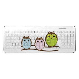 かわいいフクロウ家族 ワイヤレスキーボード