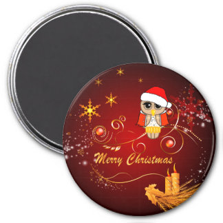 かわいいフクロウ、クリスマス マグネット