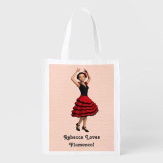 かわいいフラメンコのダンサー(名前入りな) エコバッグ