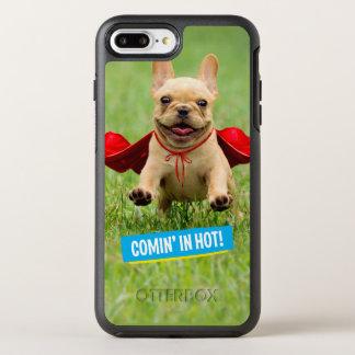 かわいいフレンチ・ブルドッグのスーパーヒーローは草で走ります オッターボックスシンメトリーiPhone 8 PLUS/7 PLUSケース