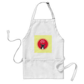 かわいいフレンチ・ブルドッグのハッピーバースデーの赤の点 スタンダードエプロン