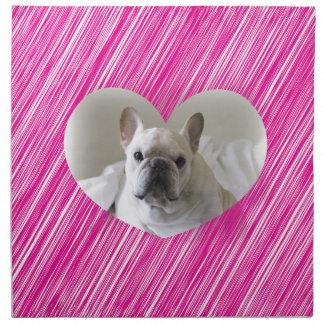 かわいいフレンチ・ブルドッグのピンクのハート ナプキンクロス