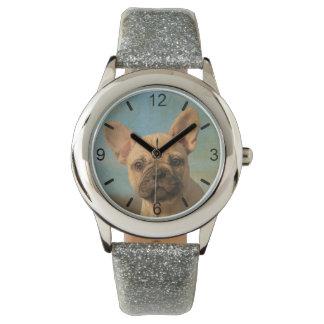 かわいいフレンチ・ブルドッグの子犬のポートレート-目盛板 腕時計