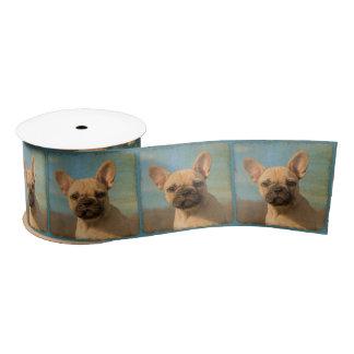 かわいいフレンチ・ブルドッグの子犬のヴィンテージのポートレートの写真- サテンリボン