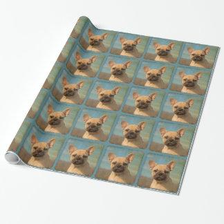 かわいいフレンチ・ブルドッグの子犬のヴィンテージのポートレート-ギフト ラッピングペーパー