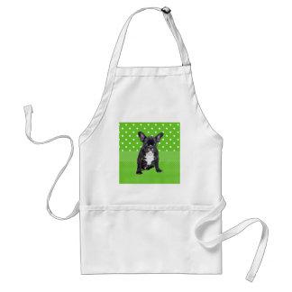 かわいいフレンチ・ブルドッグの子犬の緑の水玉模様 スタンダードエプロン
