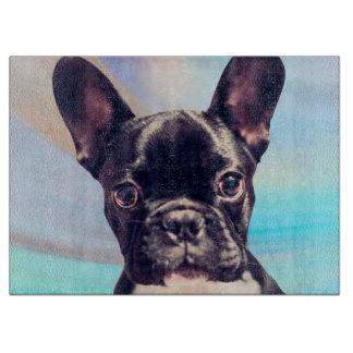 かわいいフレンチ・ブルドッグの子犬の青いまな板 カッティングボード