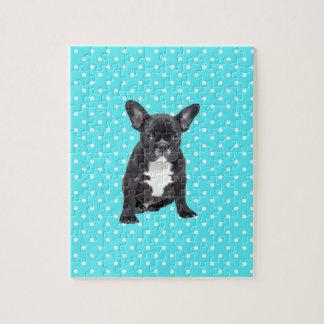 かわいいフレンチ・ブルドッグの子犬の青の水玉模様 ジグソーパズル