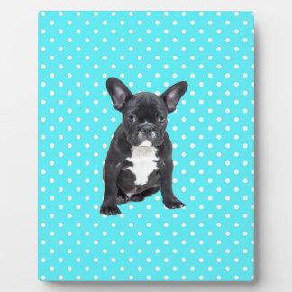 かわいいフレンチ・ブルドッグの子犬の青の水玉模様 フォトプラーク