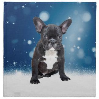 かわいいフレンチ・ブルドッグの雪は青いクリスマスを主演します ナプキンクロス