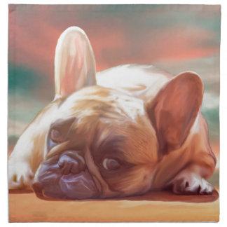 かわいいフレンチ・ブルドッグ水色の芸術の絵画 ナプキンクロス