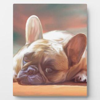 かわいいフレンチ・ブルドッグ水色の芸術の絵画 フォトプラーク