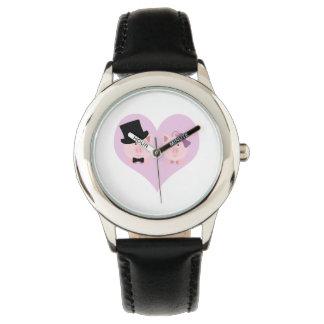 かわいいブタのカップル 腕時計