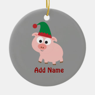 かわいいブタのクリスマスの小妖精や小人 セラミックオーナメント
