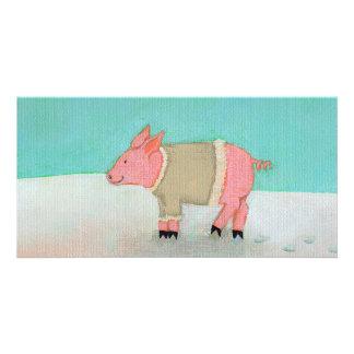 かわいいブタの芸術の冬の雪場面暖かいセーター カード