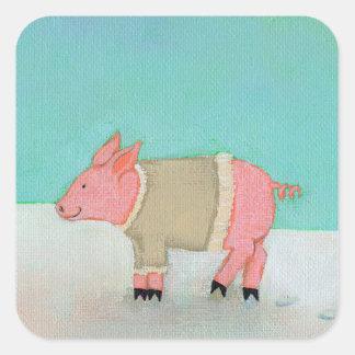 かわいいブタの芸術の冬の雪場面暖かいセーター スクエアシール