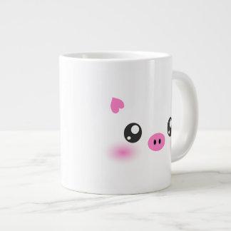 かわいいブタの顔-かわいいのミニマリズム ジャンボコーヒーマグカップ