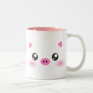 かわいいブタの顔-かわいいのミニマリズム ツートーンマグカップ